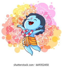 Very happy little Krishna is jumping. Cute cartoon character. Vector cartoon illustration on a spotted background.