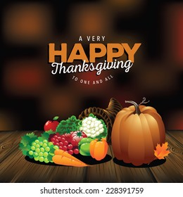 Very happy Thanksgiving on wood with blurred background EPS 10 vector