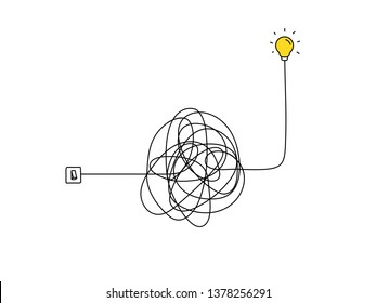 very hard thinking of inspiration idea through a complicated way illustration. light switch with messy line symbol. tangled scribble line vector path doodle design.
