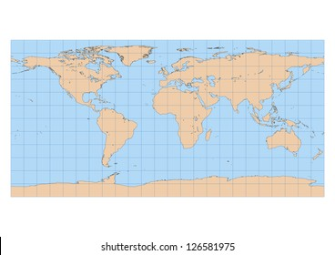 Very high detailed map of the world in Equirectangular projection with graticule. Centered in Europe and Africa