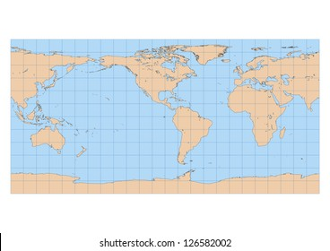 Very high detailed map of the world in Equirectangular projection with graticule. Centered in the American continent