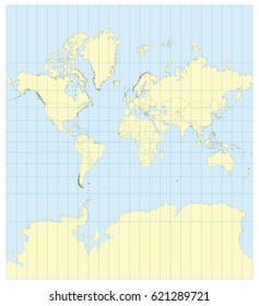 Very high detailed map of the world in Mercator projection with graticule. Centered in Europe and Africa. Elements of this image furnished by NASA