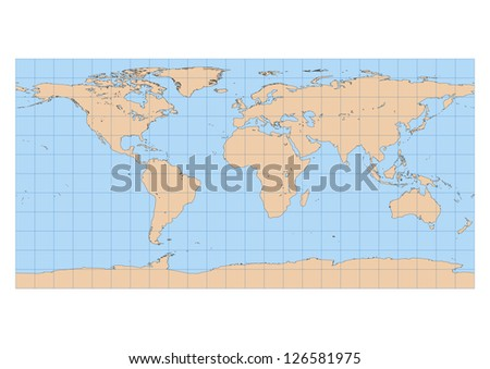 Very High Detailed Map World Equirectangular Stock Vector Royalty