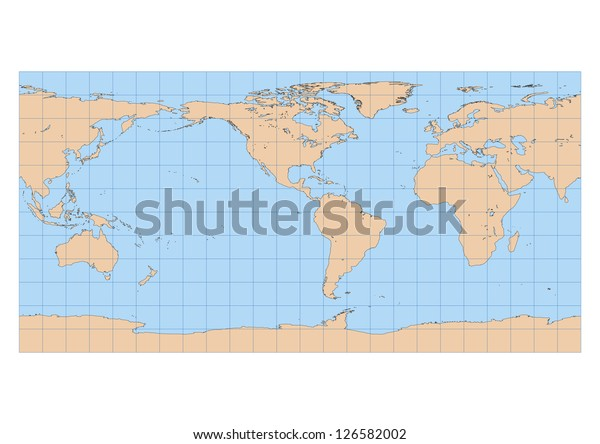 Very High Detailed Map World Equirectangular Stock ...