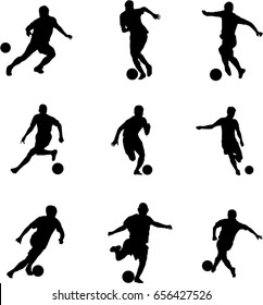 Very high quality detailed set of soccer football players silhouette cutout outlines.