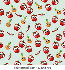 Very high quality original trendy vector seamless pattern with onion and red pepper