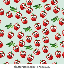 Very high quality original trendy vector seamless pattern with green peas pods and red pepper