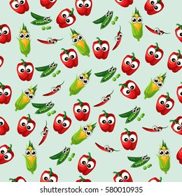 Very high quality original trendy vector seamless pattern with green peas pods and red pepper, corn