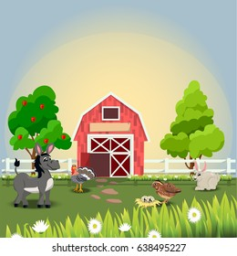 Very high quality original trendy vector illustration of happy and cheerful donkey, turkey, quail and rabbit