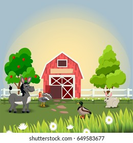 Very high quality original trendy vector illustration of happy and cheerful donkey, turkey, duck and rabbit