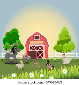 Very high quality original trendy vector illustration of happy and cheerful donkey, turkey, goose, duck and rabbit