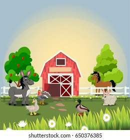 Very high quality original trendy vector illustration of happy and cheerful donkey, turkey, goose, horse, duck and rabbit