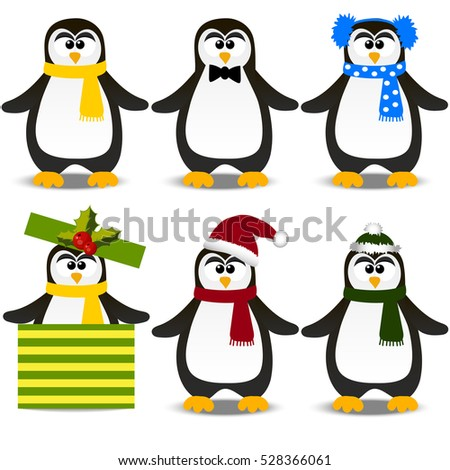 790fe4ba442163 Very high quality original trendy vector set with winter holidays happy cute  Christmas penguin in hat and scarf - Vector