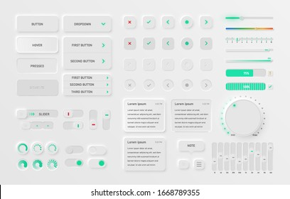 Very highly detailed white user interface pack for websites and mobile apps, vector illustration
