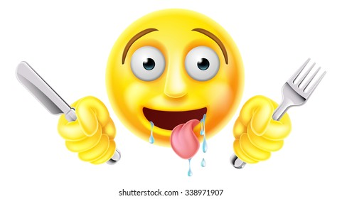 Very hungry starving emoticon emoji smiley face character drooling and holding a knife and fork