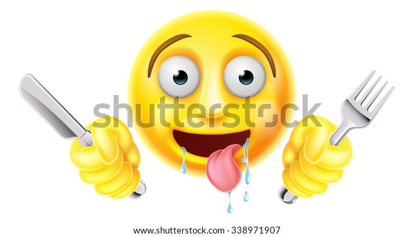 Very Hungry Starving Emoticon Emoji Smiley Stock Vector (Royalty
