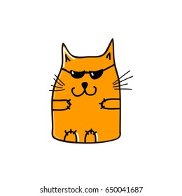 Very important orange cat with sun glasses. Vector illustration.