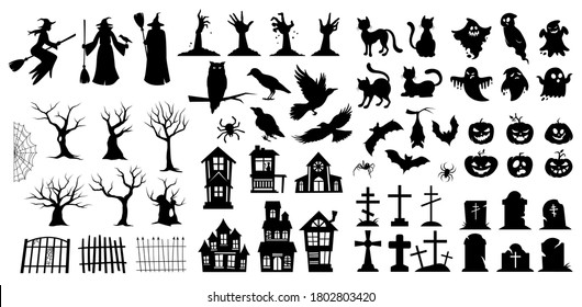 Very large set of black vector Halloween silhouettes with witches, birds, pumpkins, haunted houses, trees, ghosts and graves for use as design elements
