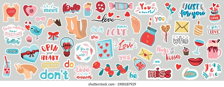 Very large set of Love stickers
