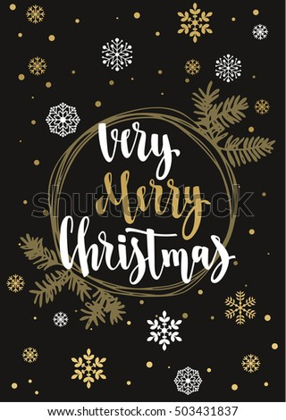Very merry christmas holiday greeting card stock vector royalty holiday greeting card with calligraphy and decorative elements handwritten modern lettering m4hsunfo