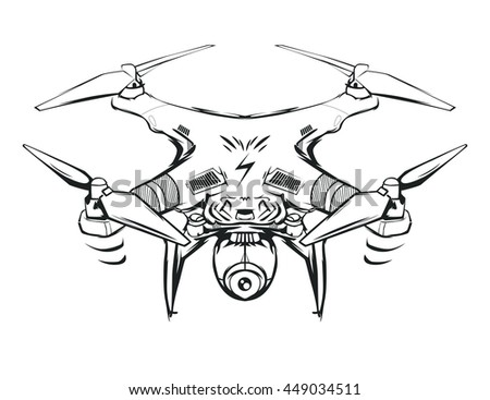 Very Nice Quadrocopter Quadcopter Modern Robot Stock Vector Royalty