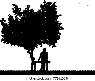 Very old grandfather sitting on bench in park silhouette, one in the series of similar images