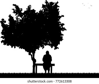 Very old grandmother sitting on bench in park silhouette, one in the series of similar images