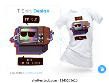 Very old TV t-shirt design. Print for clothes, posters or souvenirs. Vector illustration