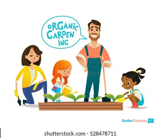 Very positive smiling kids help parents using the watering can water flowers in the garden. Eco concept. Montessori education concept. Organic gardening. Vector illustration.