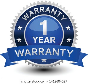 Very powerful, heavy, reliable, blue 1 year warranty badge/seal with ribbon.
