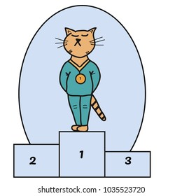 Very proud orange cat at first place podium. Vector illustration.