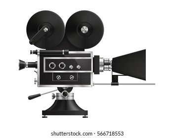 Very realistic, high detailed, vintage film projector, cinema icon. EPS 10, contains transparency.