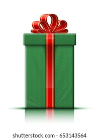 Very realistic illustration of green gift box with gold and red ribbon and bow. Vector illustration