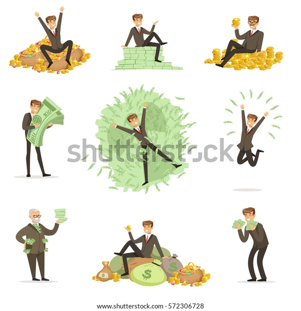Very Rich Man Bathing His Money Stock Vector (Royalty Free) 572306728