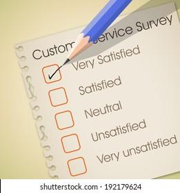 Very satisfied check box in customer service survey vector
