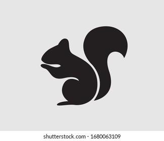 Very simple black stand squirrel logo design inspiration
