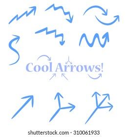 Very simple tracery handmade arrows, maybe used for infographics or business. Single, double, triple arrow, up arrow, down, twisted, pointer.