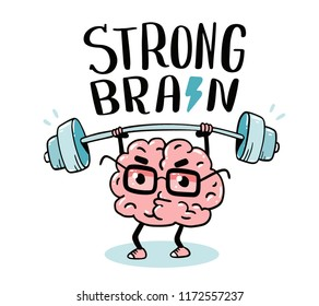 Very strong cartoon brain concept. Doodle style. Vector illustration of pink color centered brain with glasses lifts weights. Line art style design of character brain for sport, training, education