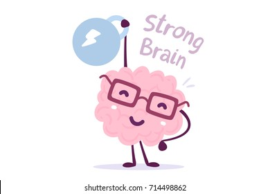 Very strong cartoon brain concept. Doodle style. Vector illustration of pink color smile brain with glasses easy lifts weight on white background. Flat style design of character brain for training
