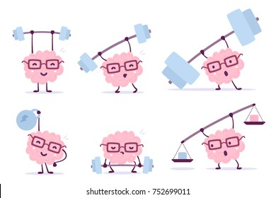Very strong cartoon brain concept. Vector set of illustration of pink color smile brain with glasses lifts bar of different weight on white background. Flat style design of character brain
