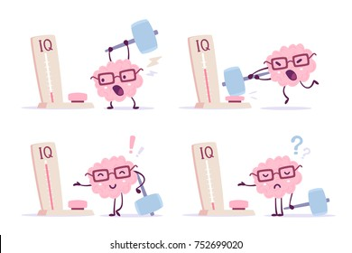 Very strong cartoon brain concept. Vector set of illustration of pink color human brain with glasses and measure level iq on white background. Different degree of impact with a hammer. Flat style