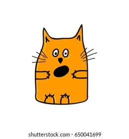 Very surprised orange cat with open mouth. Vector illustration.