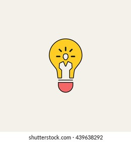 very thin outline Idea Colorful Icon vector, cartoon style on pearl background