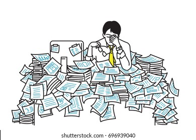 Very tired and exhausted businessman, sitting at table, flood with working paper sheet, overworked, too much working, very busy, deadline. Outline, line art, hand draw sketch, simple design.
