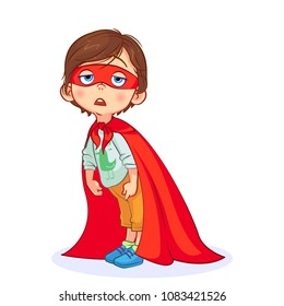 Very tired Super boy bent over, hands down. Funny kid dressed as a super hero with mask and red cape. Isolated colorful vector illustration.