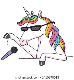 A very trendy rainbow unicorn doing a mic drop because he is too cool to continue talking.
