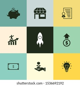 Very Useful 9 Business Startup Vector Icon Set for Designer Can Be Use in Design, Web Design & App Design.