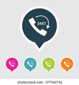 Very Useful Editable 24X7 Call Icon on Different Colored Pointer Shape. Eps-10.