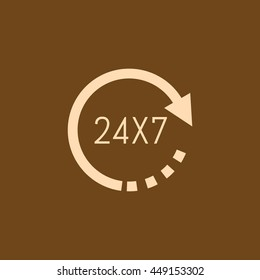 Very Useful Editable Vector icon of 24X7 on coffee color background. eps-10.