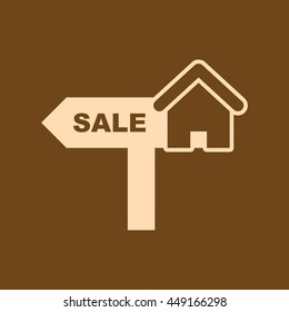 House Property Sale Icon On Blue Stock Vector (Royalty Free
